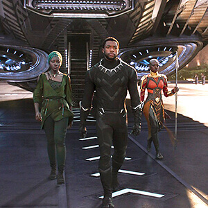 Black Panther, Nakia and Okoye emerge from their ship